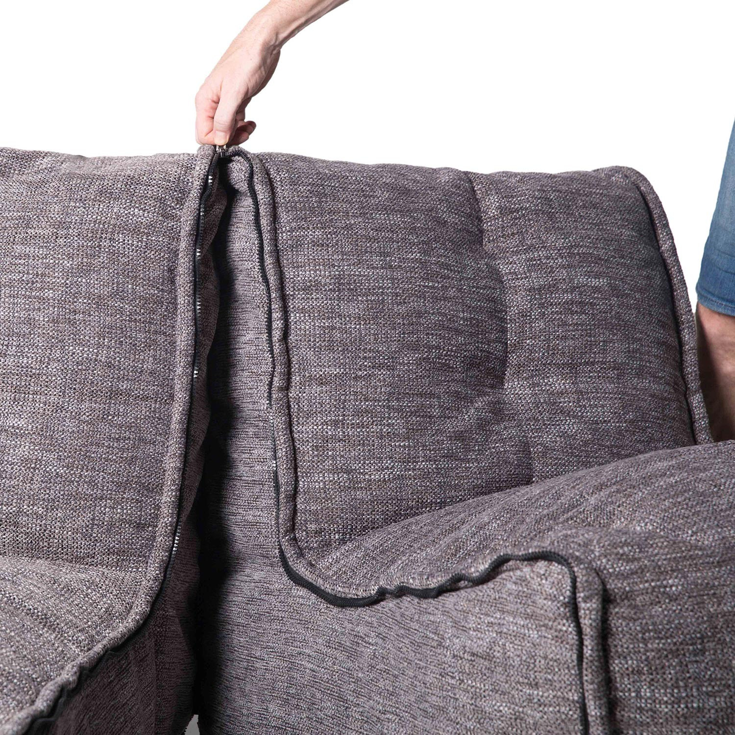 2 Seater Gery Sofa Designer Bean Bag Couch Grey Fabric