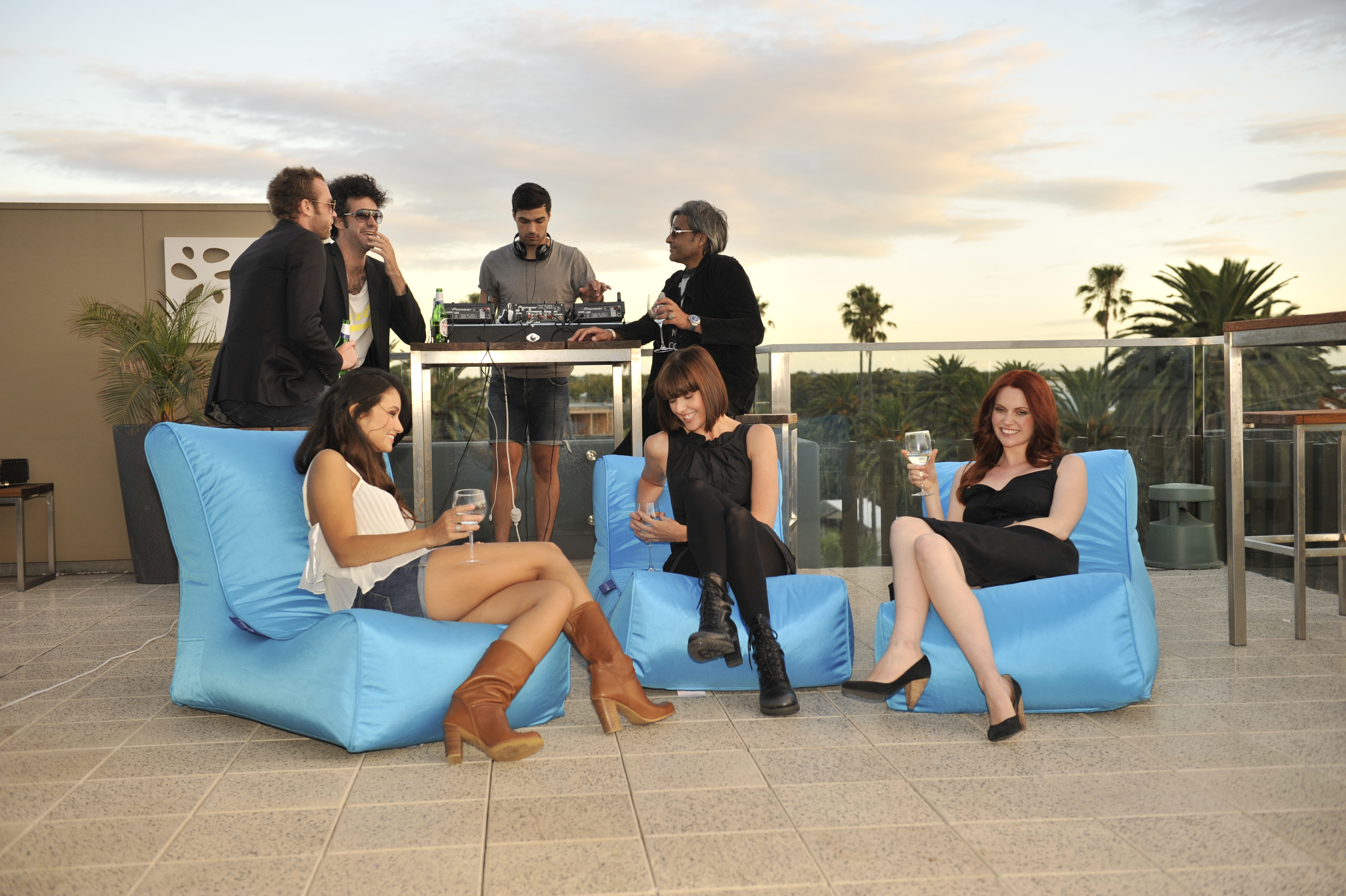 Rooftop Event With Bean Bag Hire By Ambient Lounge Australia Melbourne