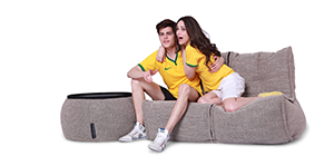 watching world cup on ambient lounge twin couch gray bean bag