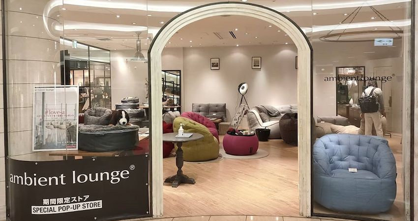 Ambient Lounge pop up store in Osaka Japan. Soft luxury loungers loved by Japanese