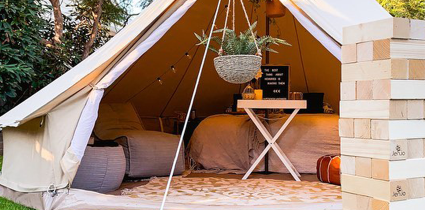 Ambient Lounge Evolution Sofa and Versa Table in Silverline in a Tipi