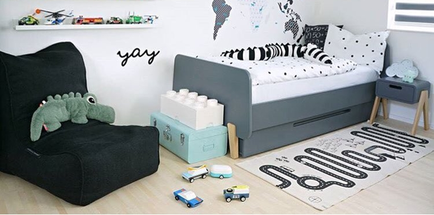 Black Kids Bean Bag in Boy's Bedroom with Kid's Toys by Ambient Lounge.