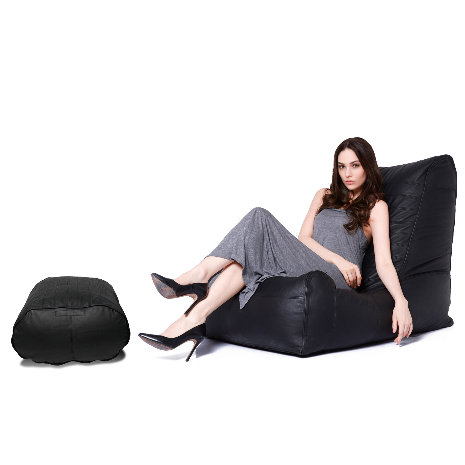 Black Leather Bean Bags