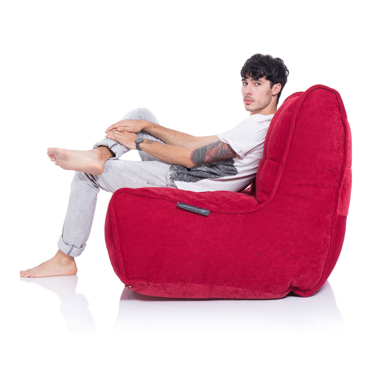 2 Seater Red Sofa Designer Bean Bag Couch Red Fabric Bean Bag