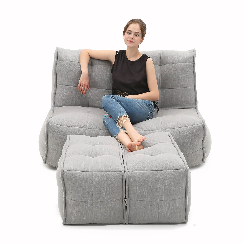 2 Seater Grey Sofa Designer Bean Bag Couch Keystone
