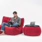 Red Versa Table made of bean bags