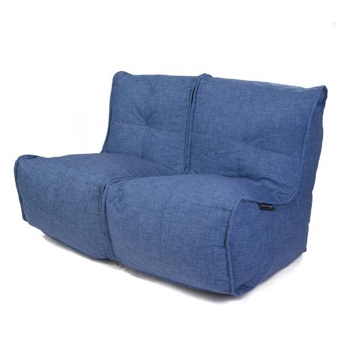 2 Seater Blue Sofa Designer Bean Bag Couch Blue Fabric