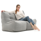 2 Piece Modular Twin Couch in Grey Linen Interior Fabric