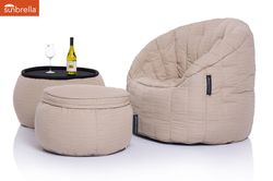 cream designer sofa set in Sunbrella fabric bean bag by Ambient Lounge
