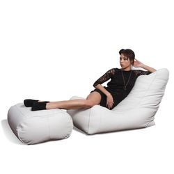 white leather bean bags - Ambient Lounge