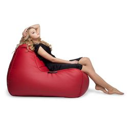 Red Leather Bean Bag - Ambient Lounge