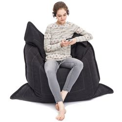 black flat pillow made of bean bags by Ambient Lounge