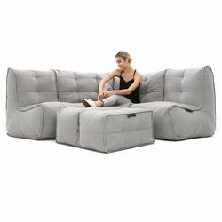 comfortable 4 Piece modular Couch Bean Bags in grey with linen Interior Fabric