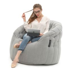 Float like a Butterfly, sit like royalty in this truly amazing bean bag lounger. The design of internal elastics and multi bead compartments is truly gravity defying and gives such a good level of support all over.