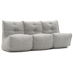 comfortable 3 Piece movie couch Bean Bags in Grey with linen Interior Fabric