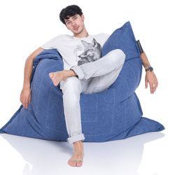 blue flat pillow made of bean bags by Ambient Lounge