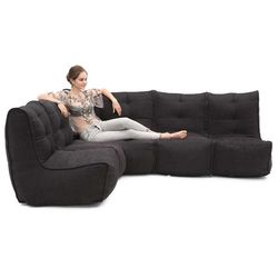 4 Piece Modular L Bean Bags in Black Sapphire Interior Fabric