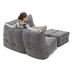 comfortable 4 Piece modular Couch Bean Bags in grey Interior Fabric