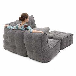 comfortable 4 Piece modular Couch Bean Bags in grey Interior Fabric