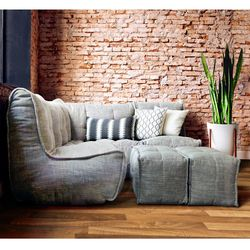 comfortable 4 Piece modular Couch Bean Bags in beige Interior Fabric