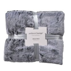 550gm sensory grey deluxe faux fur throw by ambient lounge