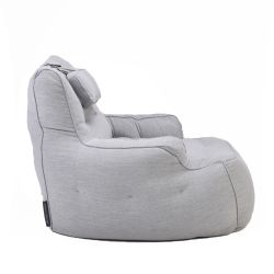 tranquility armchair by ambient lounge in grey linen fabric