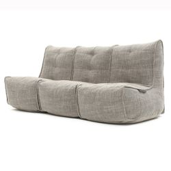 comfortable 3 Piece movie couch Bean Bags in beige Interior Fabric