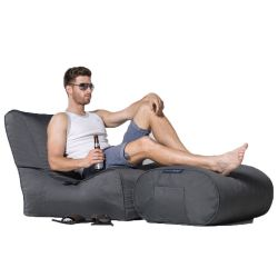 dark grey designer sofa set in Sunbrella fabric bean bag by Ambient Lounge